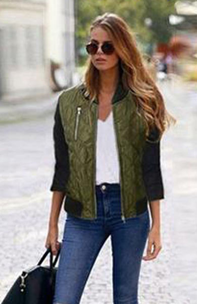 Chic Fashionable Short Jacket Casual Outerwear Zipper Standing Collar - Lizachic