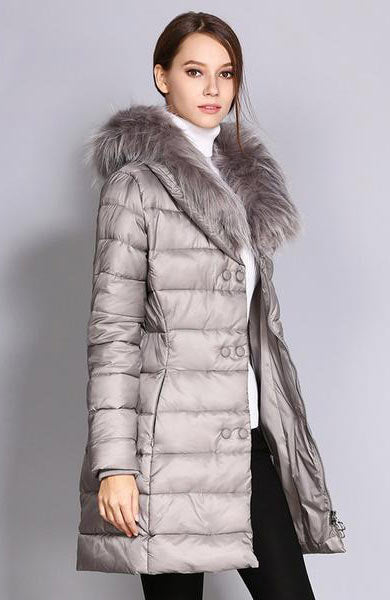 Casual Slim Long Jacket Fur Collar Parka Full Sleeve Coat - Lizachic