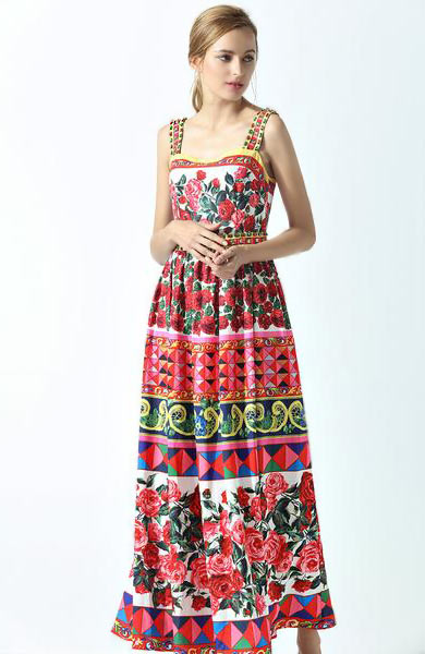 Charming Rose Flower Floral Print Spaghetti Strap Beading Long Dress - Lizachic