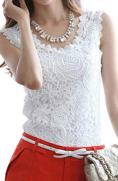 Sexy Elegant Lace O-Neck Sleeveless Blouse - Lizachic