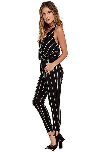 Elegant Backless Elastic Waist Striped Jumpsuit - Lizachic