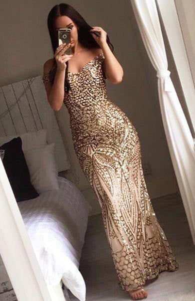 Sexy Gold Shiny Sequin Maxi Off Shoulder Long Lining Low Cut Backless Dress - Lizachic