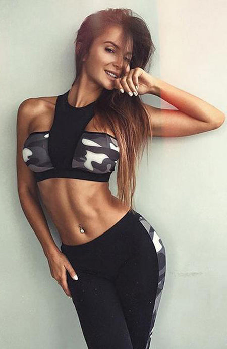Sexy Flower Print Fitness Elastic Hollow Out Crop Top And Legging Set