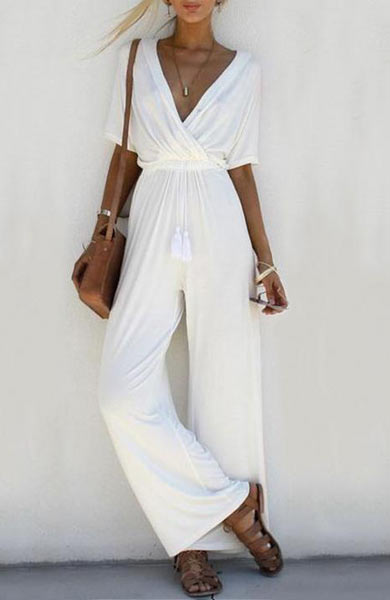 Elegant V Neck Loose Short Sleeve Long Jumpsuit - Lizachic