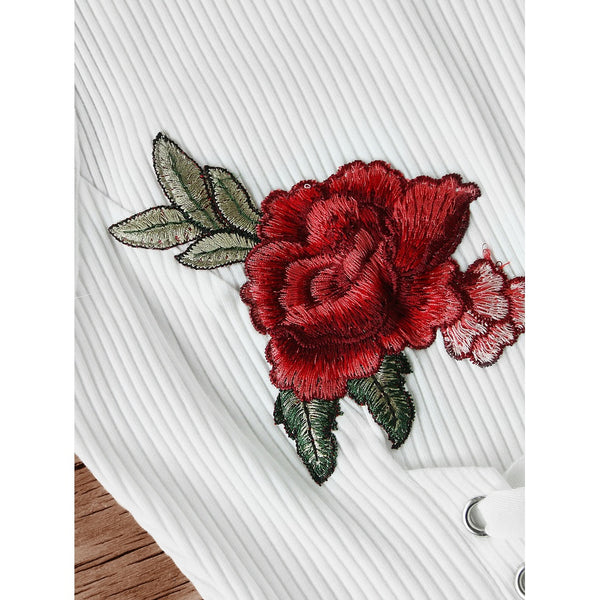 Embroidered Rose Patch Lace Up Ribbed Tank Top - Lizachic