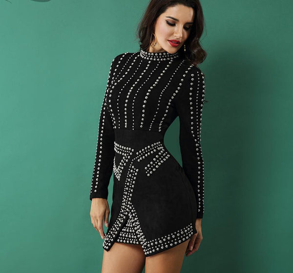 Andrea Sexy Beading Bodycon Mini Party Dress - Lizachic
