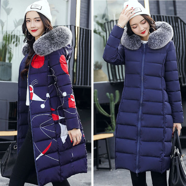 Hooded Fur Collar Jacket Long Down Parka Slim Waded Coat - Lizachic