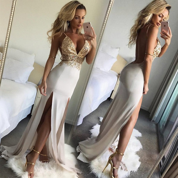 Elen Sexy Backless High Split Maxi Dress - Lizachic