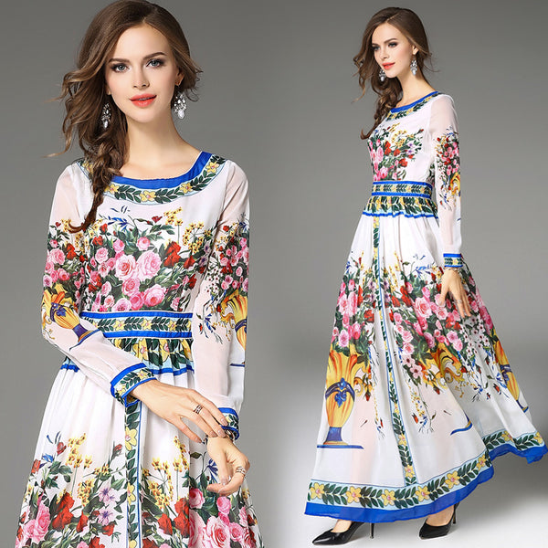 7a6b5acf3549c ... Designer Floral Long Sleeve O-Neck Slim Long Maxi Dress - Lizachic ...