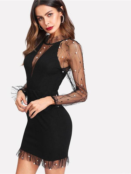 Sexy Black Pearl Beading Ruffle Neck Long Sleeve Dress - Lizachic