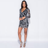 Marline Sexy Sequin Black Silver Bodycon Dress - Lizachic