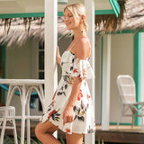 Butterfly Sleeve Floral Printed Chiffon Sexy Spaghetti Strap Mini Dress - Lizachic