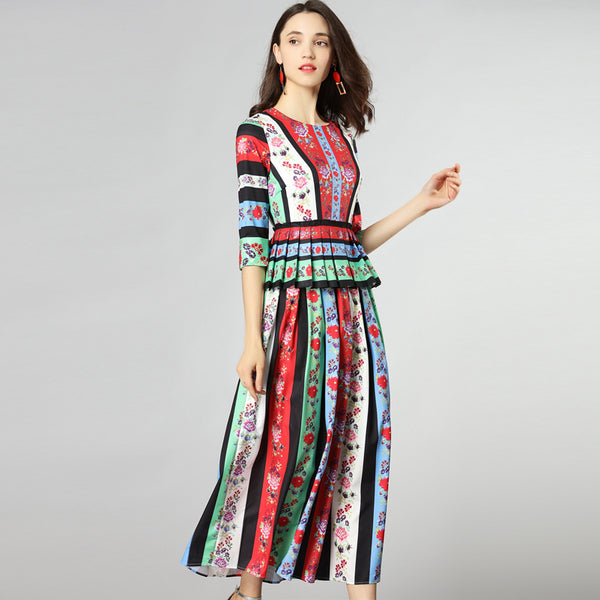 Flower Print Cascading Ruffle Vintage Three Quarter Sleeve Long Dress - Lizachic
