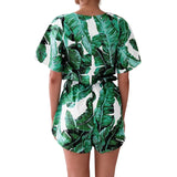 Drawstring Overall Short Sleeve V-neck Green leaf Printed Playsuit - Lizachic