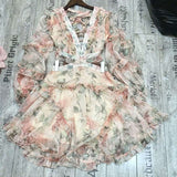 Floral Sexy V-neck Hollow Out  Long Sleeve Casual Dress - Lizachic