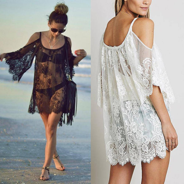 Sexy Strap Floral Lace Embroidered Crochet Boho Summer Dress - Lizachic