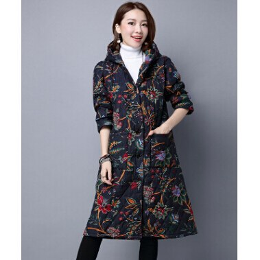 Casual Long Parka Hood Print Coat Cotton Padded Jacket - Lizachic