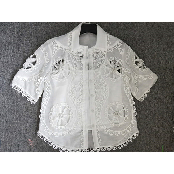 Newest Fashion Suit Set Short Sleeve Hollow Out Blouse - Lizachic
