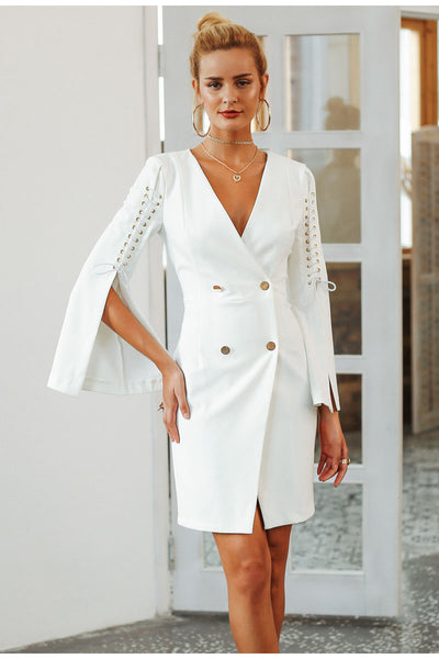 Double-Breasted Chic Elegant Lace-Up Split Blazer Mini Dress - Lizachic