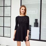 Elegant Pearl Embellished Zip Fit & Amp Flare 3/4 Sleeve Skater Mini Dress - Lizachic