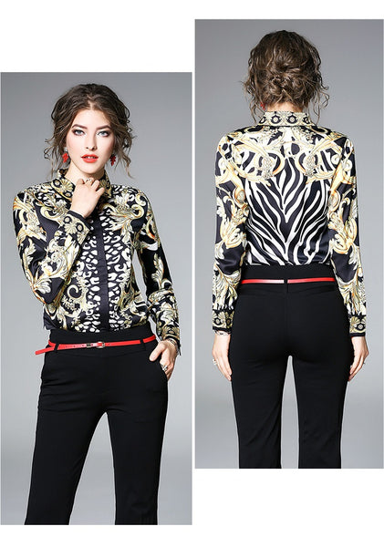 Elegant Long Sleeve Polo Collar Full Print Blouse - Lizachic