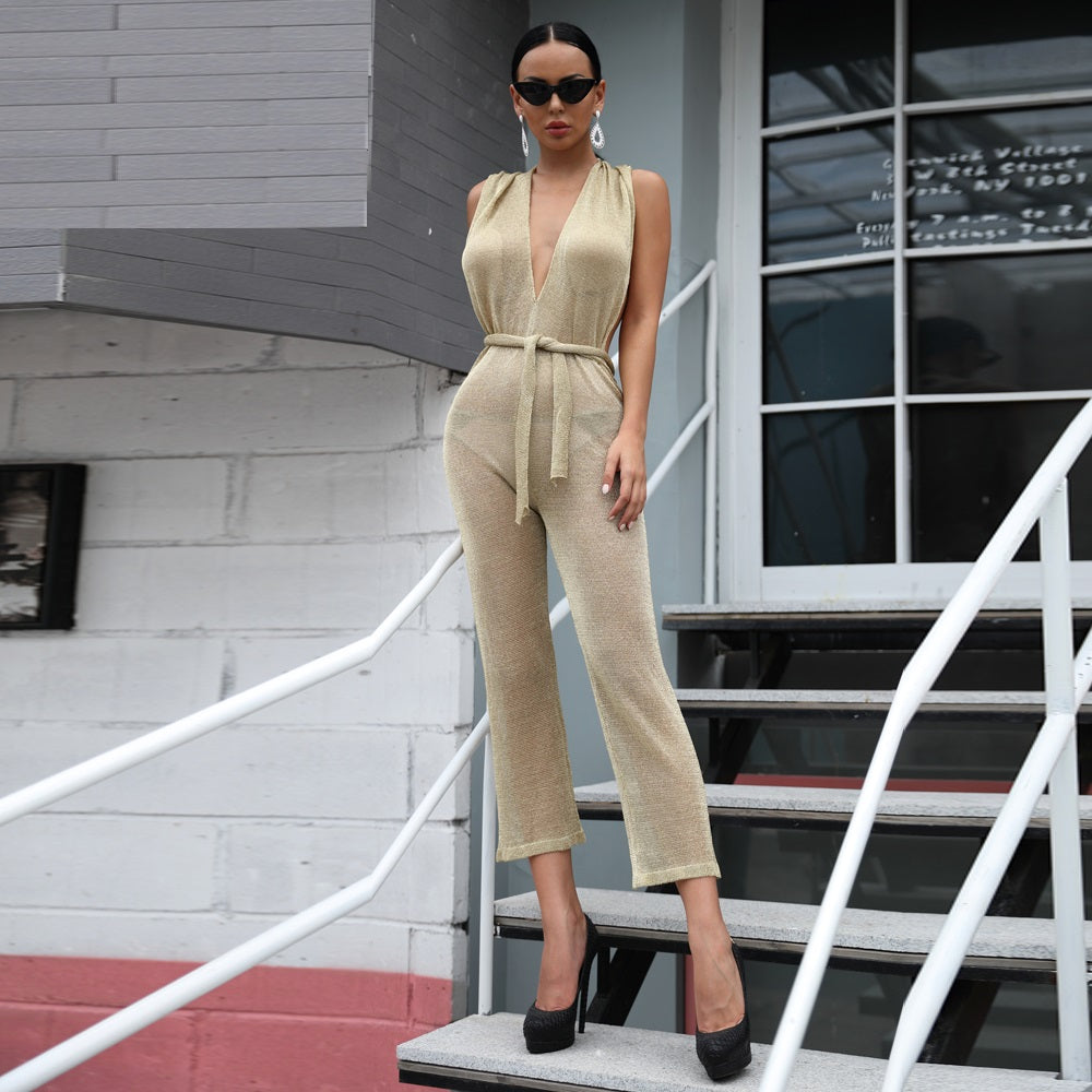 910d7b88d6e Sexy Tinsel Off Shoulder Backless Hooded Solid Gold Color Jumpsuit
