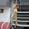 Sexy Tinsel Off Shoulder Backless Hooded Solid Gold Color Jumpsuit - Lizachic
