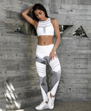 Chic Chromatic Stripe High Elastic Push Up Style Ankle Length Leggings - Lizachic