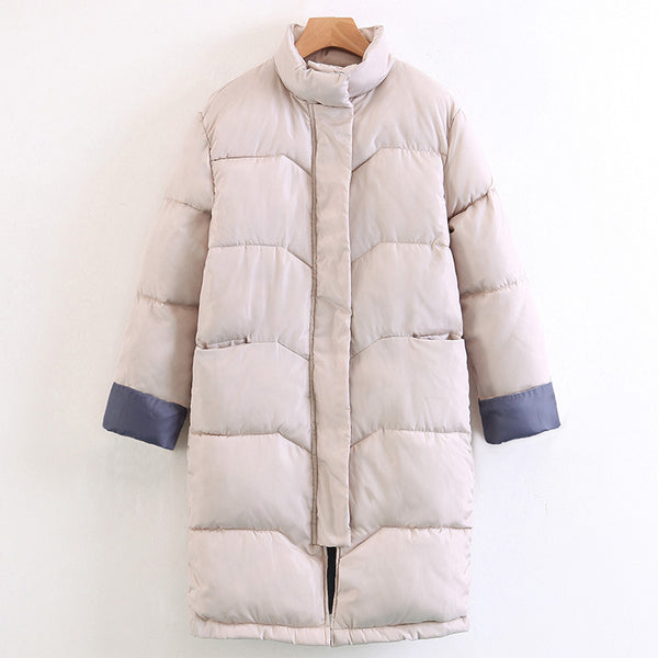 New Women Parka Warm Plus Cotton Loose Turtleneck Long Sleeve Fashion Korean Casual Coat - Lizachic