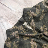 Leaves Print Vintage Duster Coat Cotton Long Cardigan - Lizachic