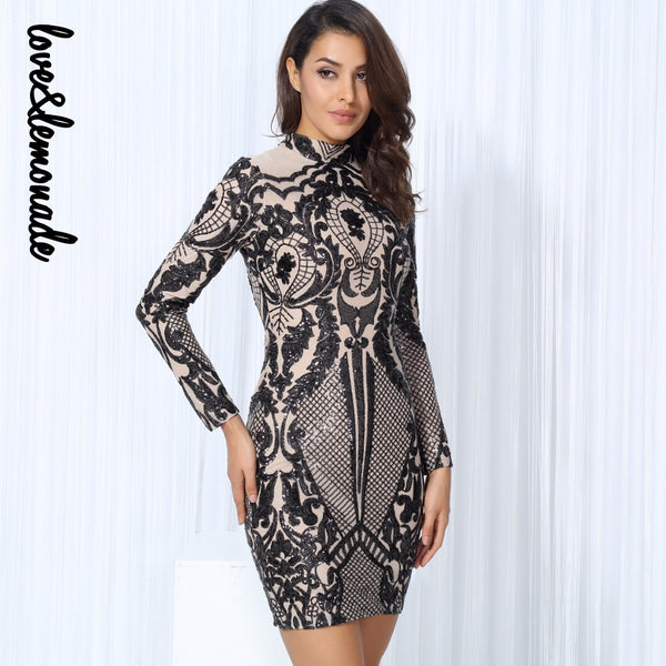 Love&Lemonade  Black Geometric Graphic Sequins Nude  Lining Long Sleeves Dress Black/Silver TB 10152 - Lizachic