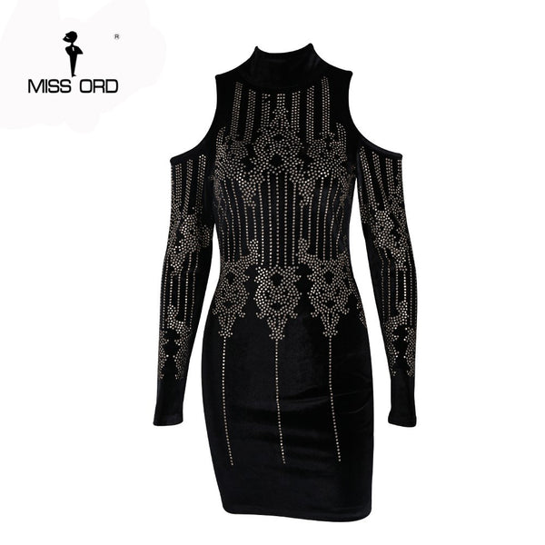 Missord 2018 Sexy Geometric retro Rhinestone high-necked long-sleeved bodycon tight dress velvet party dress FT4925-1 - Lizachic