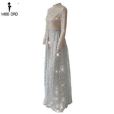 Missord 2018  Women Sexy High Neck Long Sleeve Glitter Evening Dresses Female Cloak  Maxi Elegant Party Dress Vestdios FT18502 - Lizachic