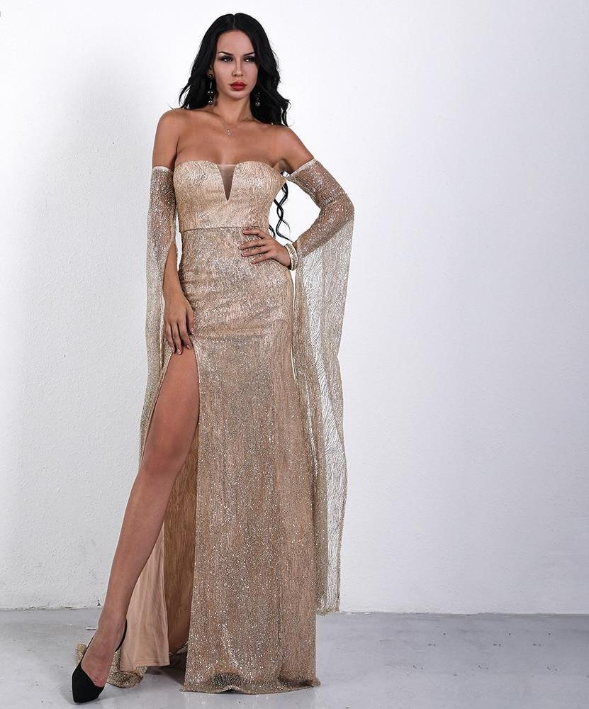 228f83b3c0 Ashley Sexy Off Shoulder Backless Sequin Glitter Party Dress