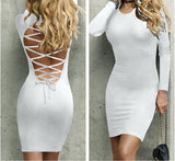 Backless Long Sleeve Stretchy Sexy Bandage Dress - Lizachic