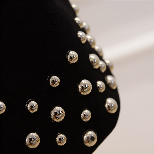 Amanda Metal Beaded Rivet Bodycon Dress - Lizachic