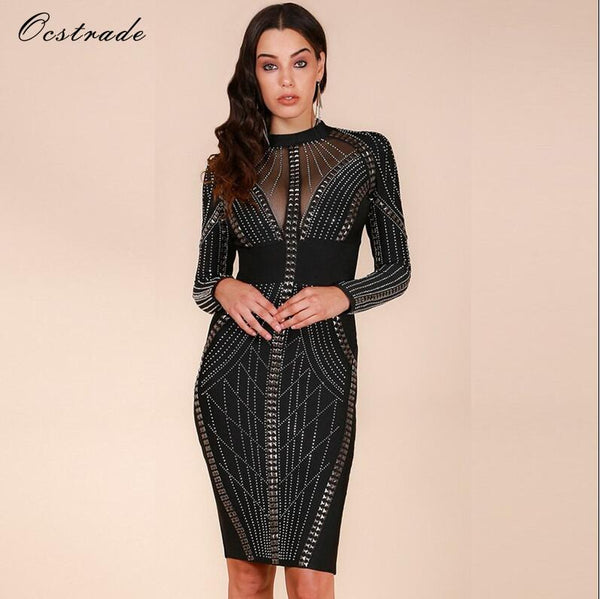 Ocstrade Merry Christmas Party New Year Eve Womens Studded High Quality Rayon Long Sleeve White Bandage Dress Dress - Lizachic