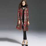 Elegant Vintage Chic Long Trench Full Sleeve Dobby Embroidery Coat - Lizachic