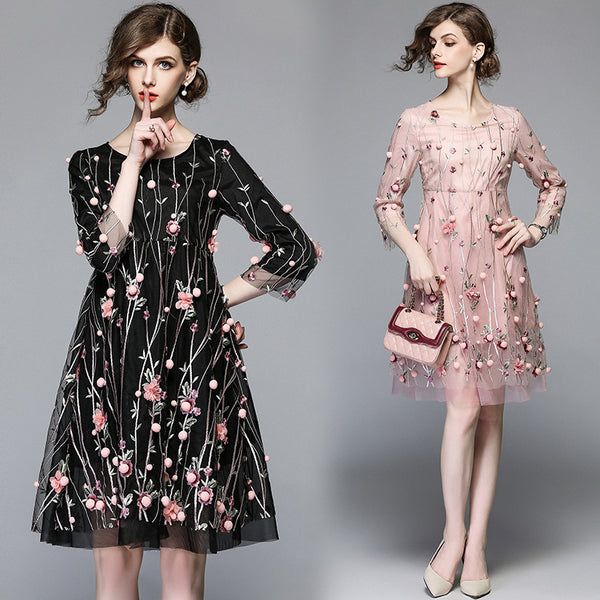Elegant Retro Mesh Pink Floral Embroidered Loose Vintage Dress - Lizachic