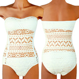 Sexy Crochet Cut Out Mesh Monokini Swimwear - Lizachic