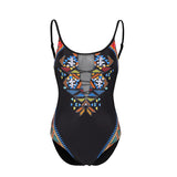 Sexy Floral See-through Push Up Padded Backless High Waist Monokini Swimsuit - Lizachic