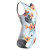Sexy Floral Spaghetti Straps Push Up Padded Backless High Waist Monokini Swimsuit - Lizachic
