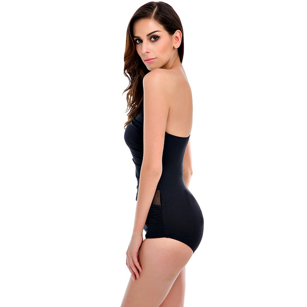 Sexy Mesh One Shoulder Monokini Swimsuit - Lizachic