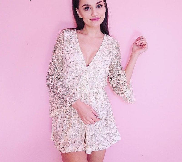 Sexy Lace Sequin Deep V Neck Hollow Out Playsuit - Lizachic