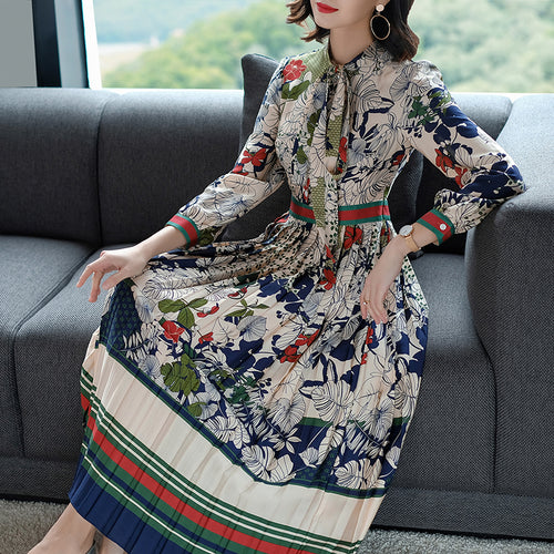 Slim High Waist Colorful Print Long Sleeve Chiffon Pleated Calf Length Dress - Lizachic