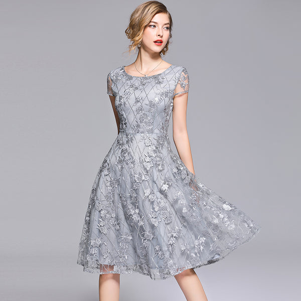 Elegant Lace Embroidery O-Neck Short Sleeve A-Line Mid Calf Dress - Lizachic