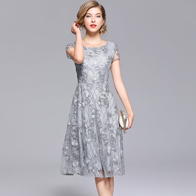 Elegant Lace Embroidery O Neck Short Sleeve A Line Mid Calf Dress