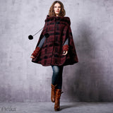 Elegant Warm Hooded Long Poncho Coat Plaid Cape Woolen Blend - Lizachic