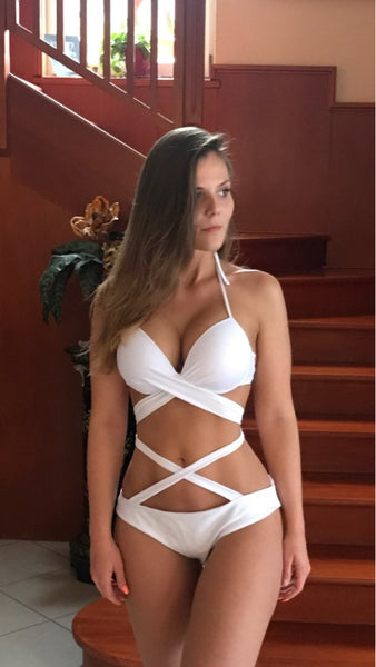 Sexy High Waist Hot Push-Up Bandage Halter Bikini - Lizachic