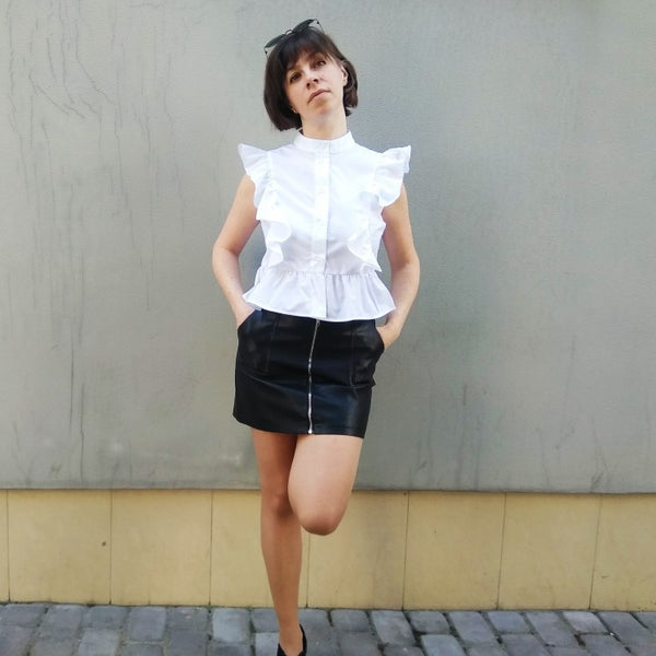 Elegant Trendy Butterfly Ruffles Sleeveless White Tunic Short Blouse - Lizachic